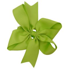Girls Green Solid Color Grosgrain Knotted Bow Stylish Hair Clippie