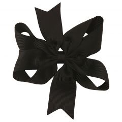 Girls Black Solid Color Grosgrain Knotted Bow Stylish Hair Clippie