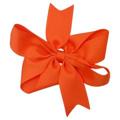 Girls Orange Solid Color Grosgrain Knotted Bow Stylish Hair Clippie