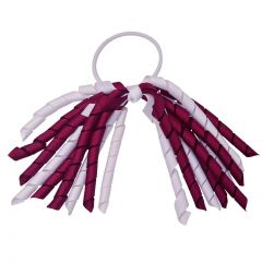 Girls Burgundy White Korker Ribbon Curly Hair Streamer Ponytail Holder