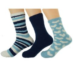 Gold Medal Big Girls Blue Navy Solid Stripe Heart 3 Pc Butter Socks Pack 9-11