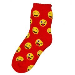 Alexa Rose Big Girls Red Yellow Emoticon Patterned Trendy Socks 9-11