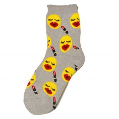 Alexa Rose Big Girls Grey Yellow Emoticon Patterned Trendy Socks 9-11