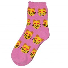 Alexa Rose Big Girls Purple Yellow Emoticon Patterned Trendy Socks 9-11