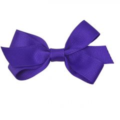 Reflectionz Girls Purple Solid Color Grosgrain Knotted Bow Hair Clippie