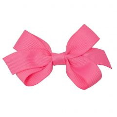 Reflectionz Girls Dark Pink Solid Color Grosgrain Knotted Bow Hair Clippie
