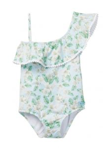 Azul Little Girls Green Perfectly Prim One Shoulder One Piece Swimsuit 4-6