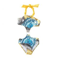 Azul Little Girls Yellow Urban Boho Paisley Printed Monokini Swimsuit 4-6