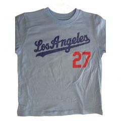 "MLB Big Boys Baby Blue Solid Color ""Los Angeles 27"" Print Cotton T-Shirt 8-18"