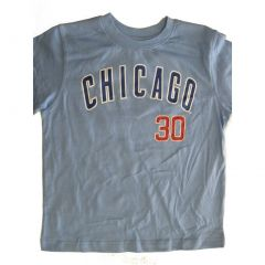 "MLB Big Boys Baby Blue Solid Color ""Chicago 30"" Print Cotton T-Shirt 8-18"