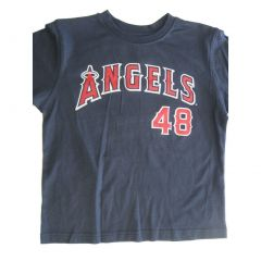 "MLB Big Boys Gray Solid Color ""Angels 48"" Print Cotton T-Shirt 8-18"