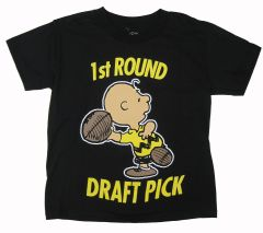 Peanuts Big Boys Black Character Lettering Print Short Sleeve T-Shirt 8-12