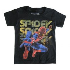 Marvels Little Boys Black Spidey Graphic Print Crew Neck Cotton T-Shirt 2-4T