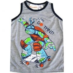 "TNT Ninja Turtles Little Boys Grey ""Go TNMT"" Sleeveless Shirt Top 4-7"