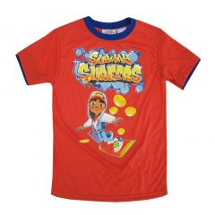 Subway Surfers Little Boys Red Yellow Character Print Short Sleeved Tee 4-7