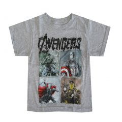 Marvel Little Boys Light Grey Avengers Character Graphic Print T-Shirt 4-7