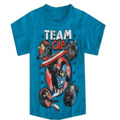 Marvel Little Boys Aqua Team Cap Graphic Print Short Sleeve T-Shirt 4-7