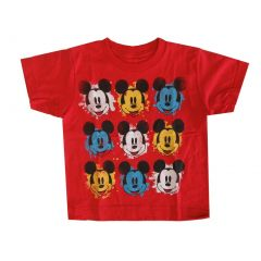 Disney Little Boys Red Mickey Mouse Face Print Short Sleeved T-Shirt 4-6