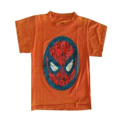 Marvel Little Boys Orange Spiderman Face Print Short Sleeve T-Shirt 4-7