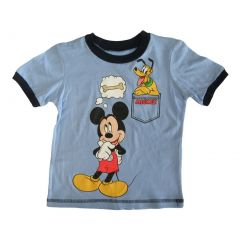 Disney Little Boys Sky Blue Mickey Mouse Pluto Cartoon Print T-Shirt 2-4T