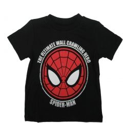 Marvel Little Boys Black Red Spiderman Super Hero Print Cotton T-Shirt 2T-7