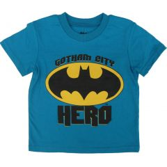 DC Comics Little Boys Blue Yellow Batman Short Sleeve Cotton T-Shirt 2T-7