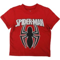 Marvel Little Boys Black Red Spiderman Super Hero Short Sleeved T-Shirt 2T-7