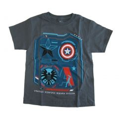 Marvel Big Boys Gray Captain America Short Sleeve Cotton T-shirt 8-16