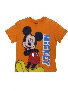 Disney Little Boys Orange Mickey Mouse Short Sleeve Top 2T-4T