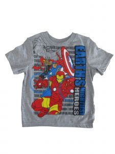 "Marvel Little Boys Gray Avengers ""Earth's Mighty Heroes"" Print T-Shirt 2T-7"