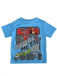 "Nickelodeon Little Boys Blue Blaze ""Pedal To The Medal"" Print T-Shirt 2-4T"