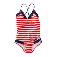 Azul Little Girls Red White Stripe In The Navy Ruffle One Piece Swimsuit 4-6