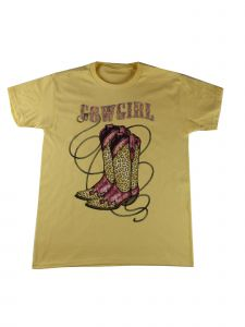 Girls Yellow Cowgirl Boots Graphic Print Cotton Short Sleeve T-Shirt 6-16