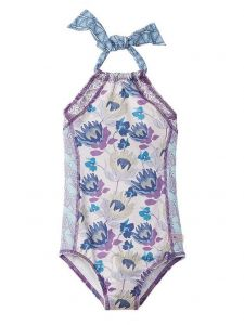Azul Little Girls Purple Reign Floral Print Halter One Piece Swimsuit 4-6