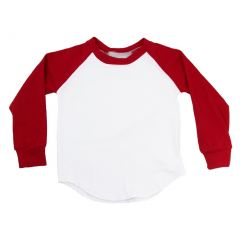 Unisex Little Kids Red Two Tone Long Sleeve Raglan Baseball T-Shirt 4T