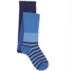 Jefferies Socks Little Girls Blue Tonal Wide Stripe Pattern Footed Tights 2-6