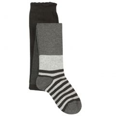 Jefferies Socks Little Girls Grey Tonal Wide Stripe Pattern Footed Tights 2-6