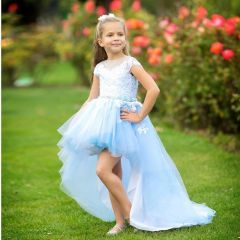 Girls Light Blue White Asymmetric Tulle Train Latoya Flower Girl Dress 5-10