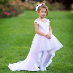 Little Girls Pink White Asymmetric Tulle Train Latoya Ball Flower Girl Dress 2-6