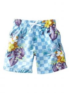 Azul Little Boys Light Blue Check Mate Drawstring Tie Swimwear Shorts 2-6