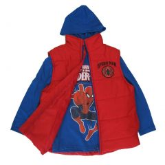 Marvel Big Boys Royal Blue Red Spiderman Print Hooded Shirt Puffer Vest 8-16