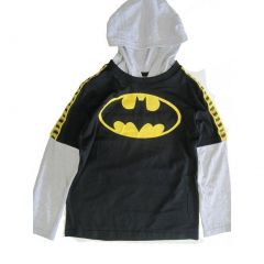 Batman Big Boys Black Grey Logo Print Hooded Long Layered Sleeve Shirt 8-16