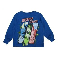 Marvels Little Boys Royal Blue Justice League Superhero Printed Shirt 2T-5