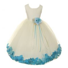 Kids Dream Big Girls Ivory Aqua Satin Floral Petal Junior Bridesmaid Dress 8-14