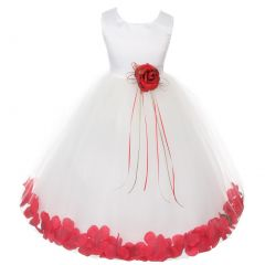 Kids Dream Little Girls Ivory Red Satin Floral Petal Flower Girl Dress 2T-6