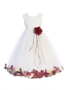 Kids Dream Little Girls White Burgundy Floral Petal Flower Girl Dress 2-6