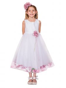 Kids Dream Girls White Multi Color Petal Options Junior Bridesmaid Flower Girl Dress 2-14