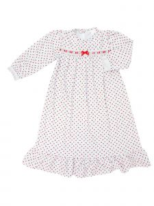 Laura Dare Little Girls Red Rosebud Jersey Long Sleeve Pajama Nightgown 2T-6X