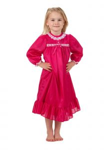 Laura Dare Little Girls Red Long Sleeve Traditional Peignoir Set 2T-6X
