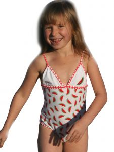 Azul Big Girls Red Watermelons 1 Pc Swimsuit 7-8
